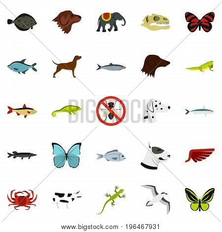 Wild animals icons set. Flat set of 25 wild animals vector icons for web isolated on white background