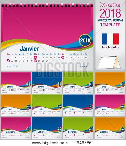 Desk triangle calendar 2018 colorful template. Size: 210mm x 150mm. Format A5.  Vector image. French version