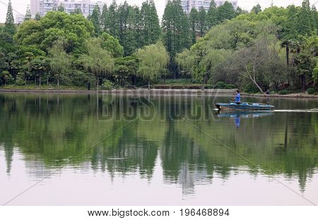 A beautiful lake in one of the many large parks in Shanghai, China.