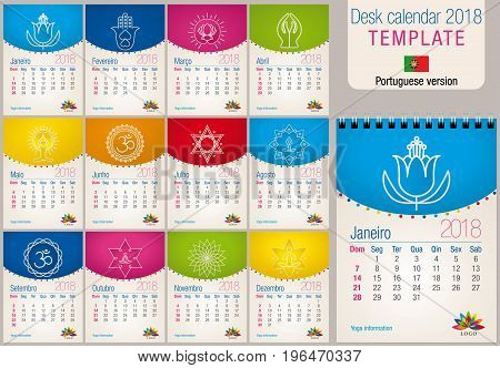 Useful desk calendar 2018 colorful template with yoga and reiki icons. Size: 150mm x 210mm. Format A5 vertical. Portuguese version