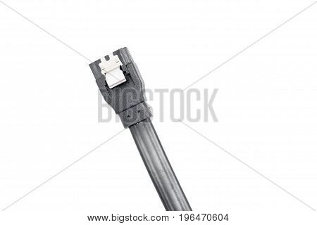 Black Serial-ata Cable On White.