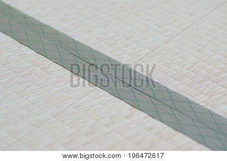 Macro details of traditional Japanese Tatami floor mats in horizontal frame