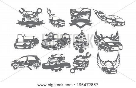 This image describe about Car Service Logo Set Bundle Collections