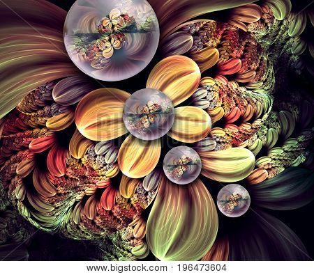 3D rendering combo artwork with fractal and fractal quatro flower buttons