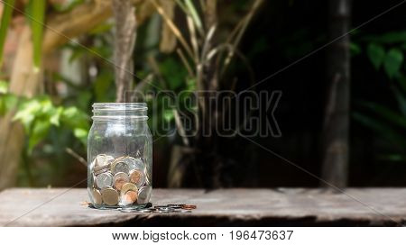 Money in the glass .Saving money concept