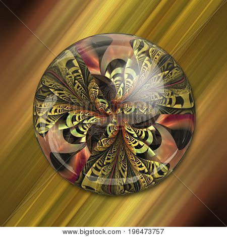 3D rendering combo artwork with fractal and fractal button