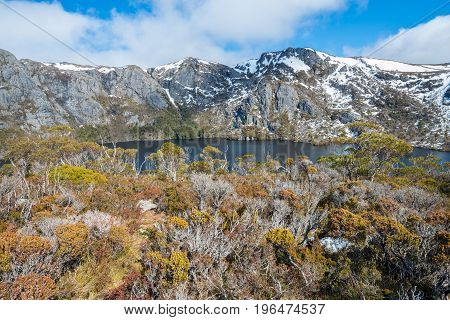 The landscape of the nature with Crater lake view at below in Cradle mountain national park of Tasmania state, Australia.