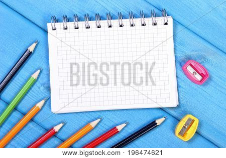 School And Office Accessories With Notepad On Boards, Back To School Concept