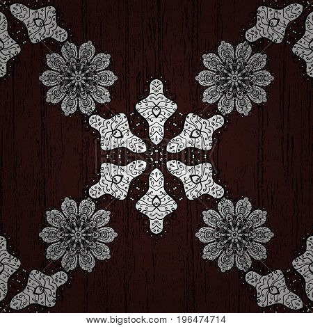 Vector Round Ornament Pattern. Geometric circle element in glod colors. Mandala on brown background. Spiritual and ritual symbol of Islam Arabic Indian religions.