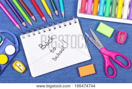 School Or Office Supplies On Jeans Background, Back To School Concept