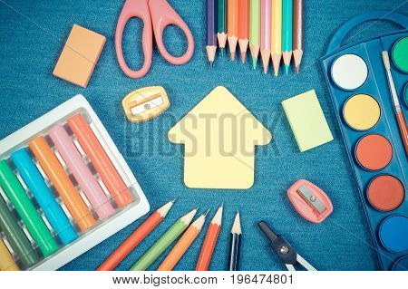 Vintage Photo, School Or Office Accessories And Shape Of Building On Jeans Background, Back To Schoo