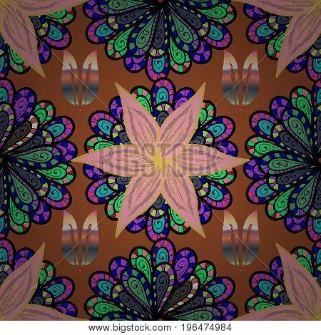 Flat Flower Elements Design. Vector illustration. Colour Spring Theme seamless pattern Background. Seamless Chichi fabric pattern. Flowers pattern.