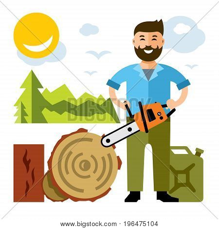 Lumberjack with chainsaw. Isolated on a white background