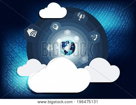 blue background with numbers and computer cloud wireless connection