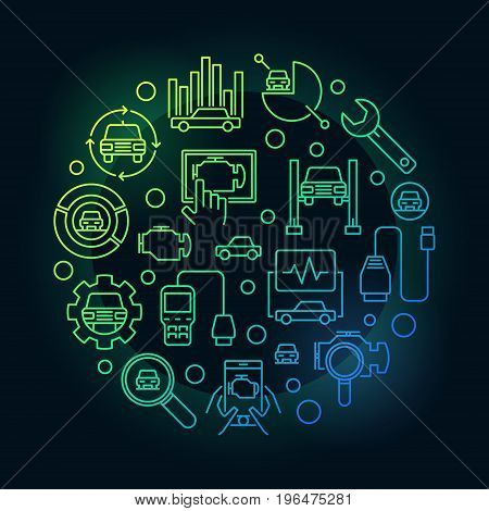 Colorful automotive diagnostics illustration. Car diagnostic concept round vector sign on dark background