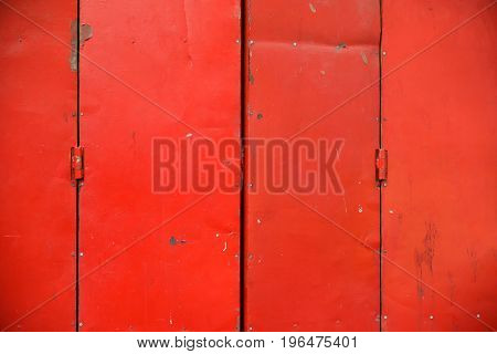 Antique Slide Steel Door Locked.vintage Style Of Close Steel Door. The Old Rusty Steel Door.