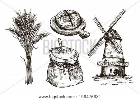 sack of flour, windmill and fresh bakery products. homemade baking. bakery products. vector sketches on white background