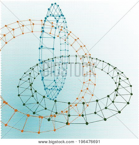 Abstract torus dotted lines connected to graphics.