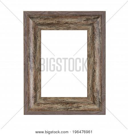Rustic Vintage Wooden Frame on a white background