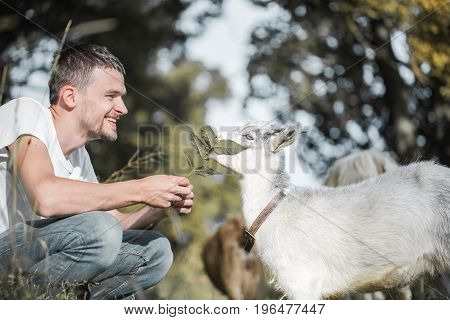 Young Man In Nature With A Goat