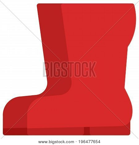 Red garden rubber boots icon, vector illustration flat style design isolated on white. Colorful graphics