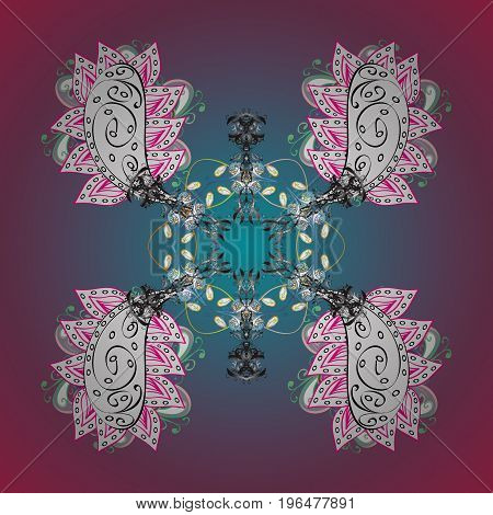 Flat design of snowflakes isolated on colorful background. Vector illustration. Snowflakes background. Snowflake ornamental pattern. Snowflakes pattern.