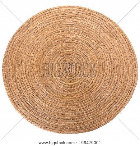 Golden  Round Wicker Mat On White Background