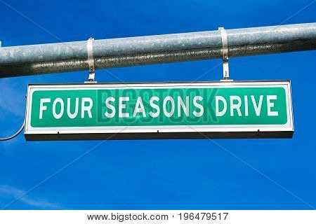 The Road sign of Four Seasons Drive