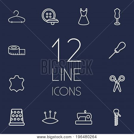 Set Of 12 Stitch Outline Icons Set. Collection Of Dress, Measuring Tape, Awl And Other Elements.