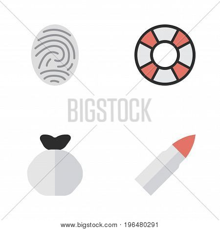 Elements Moneybox, Lifesaver, Bioskyner And Other Synonyms Bioskyner, Gun And Protection. Vector Illustration Set Of Simple Criminal Icons.