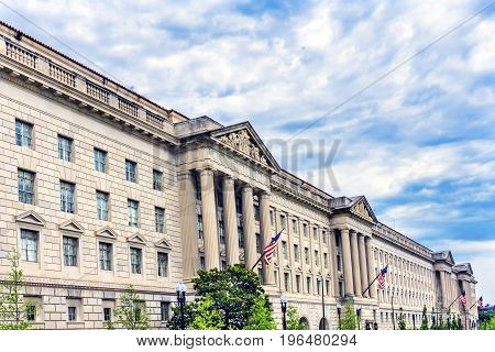 Herbert Hoover Building Commerce Department 15th Street Washington DC. Building completed in 1932. Across from the White House Commerce has multiple departments including the International Trade Administration Export Administration Import Administration a