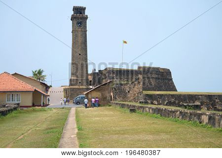 GALLE, SRI LANKA - MARCH 22, 2015: View of the Clock tower of the ancient portuguese fortress of Galle