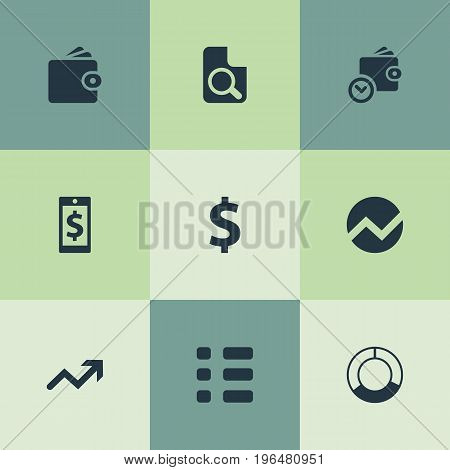 Vector Illustration Set Of Simple Investment Icons. Elements Circle Diagram, Money, Statistic And Other Synonyms Circle, Wallet And Search.