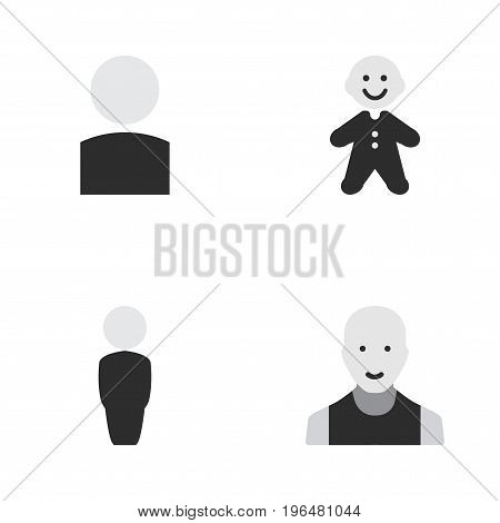 Elements Man, Avatar, Person And Other Synonyms Human, Child And Male. Vector Illustration Set Of Simple Profile Icons.
