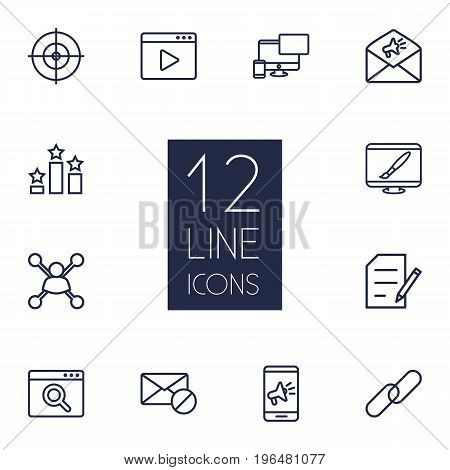 Collection Of Block, Advertising, Application Analytics And Other Elements. Set Of 12 Search Outline Icons Set.