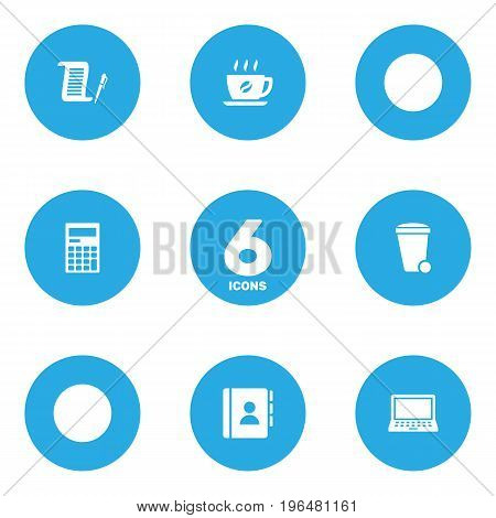 Collection Of Laptop, Contract, Coffee And Other Elements. Set Of 6 Bureau Icons Set.