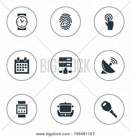 Vector Illustration Set Of Simple Internet Icons. Elements Datacenter, Antenna, Fingerprint And Other Synonyms Clock, Wristwatch And Server.