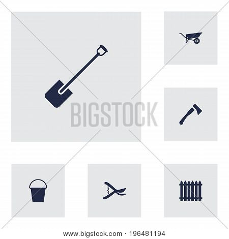 Set Of 6 Household Icons Set. Collection Of Wheelbarrow, Pruner, Shovel And Other Elements.