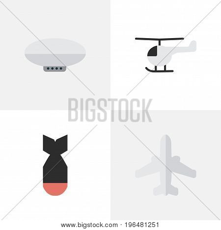 Elements Airliner, Balloons, Copter And Other Synonyms Helicopter, Copter And Dynamite. Vector Illustration Set Of Simple Plane Icons. poster