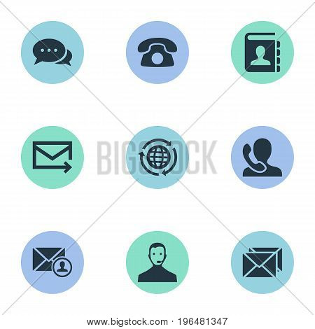 Vector Illustration Set Of Simple Connect Icons. Elements Global Trade, Dialogue, Correspondence And Other Synonyms Helpline, Address And Author.