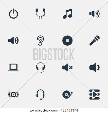 Elements Listen, Sound, Earbuds And Other Synonyms Silence, Support And Computer. Vector Illustration Set Of Simple Music Icons.
