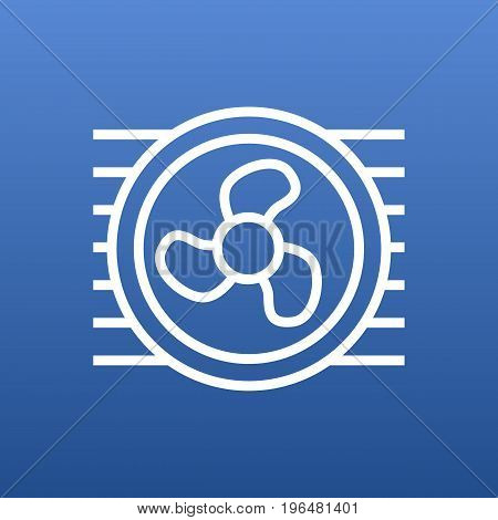 Isolated Fan Outline Symbol On Clean Background. Vector Cooler Element In Trendy Style.