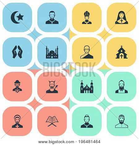 Vector Illustration Set Of Simple Religion Icons. Elements Chaplain, Buddhist, Cleric And Other Synonyms Holy, Book And Taoist.