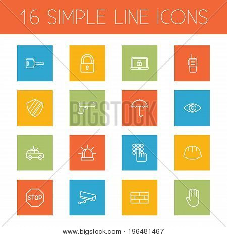 Set Of 16 Safety Outline Icons Set. Collection Of Protection , Hand , Firewall Elements.