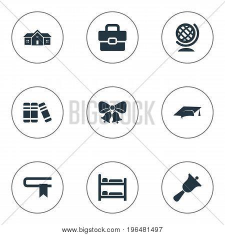 Elements Handbag , Break, Nursering Furniture Synonyms Globe, Document And Break. Vector Illustration Set Of Simple School Icons.