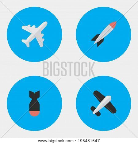Vector Illustration Set Of Simple Plane Icons. Elements Aircraft, Bomb, Aviation And Other Synonyms Vehicle, Rocket And Airplane.