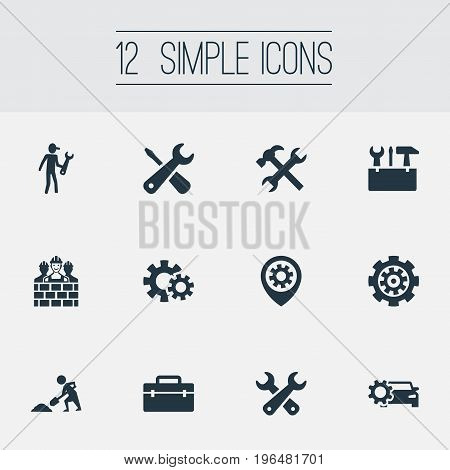 Vector Illustration Set Of Simple Repairing Icons. Elements Toolkit, Repairing, Pin And Other Synonyms Tools, Worker And Handbag.