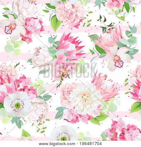 Spring mixed bouquets of hydrangea, protea, white poppy, dahlia, orchid, peony and eucalyptus leaves seamless vector design pattern. Funky stylish print. Pink striped backdrop with speckles.