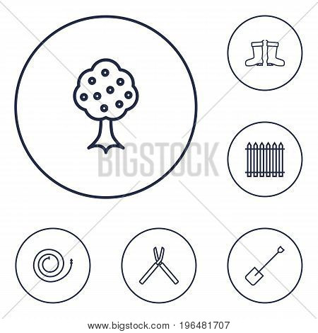 Collection Of Spade, Firehose, Waterproof Shoes And Other Elements. Set Of 6 Horticulture Outline Icons Set.