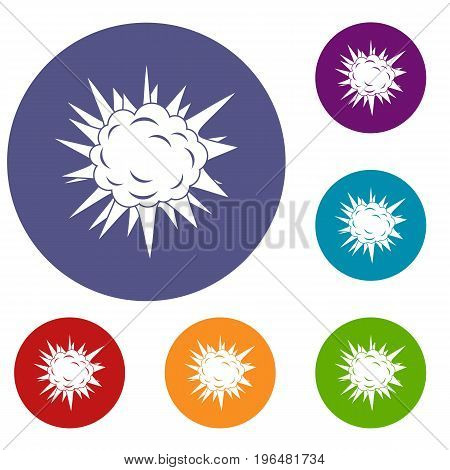 Terrible explosion icons set in flat circle red, blue and green color for web